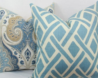 "Light blue trellis pillow cover. Kravet Treads pillow cover. 18"" x 18"". 20"" x 20"". 22"" x 22"". 24"" x 24"". 26"" x 26""."
