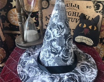 Modern Witch, Warlock, Wizard Hat:  Black and White Roses Design FREE SHIPPING