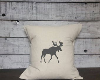 Moose Silhouette Pillow Cover