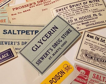 Vintage pharmacy labels, RX, Apothecary labels, Poison, Drug Store, Soda Fountain, mixed lot of 6, paper crafts, scrapbooking, ephemera