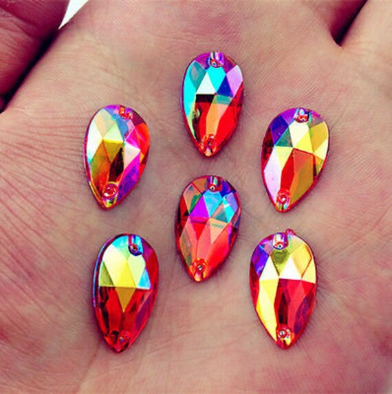 50pcs Red AB 18mm*11mm Flat Back Tear Drop Sew On Acrylic Rhinestones Embellishment Gems C03