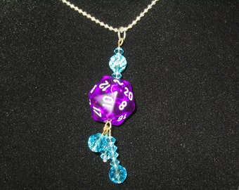 Dungeons and Dragons Dice Necklace 20 Sided Die Dice Crystal Dangle Pendant Necklace Purple/Aqua D&D