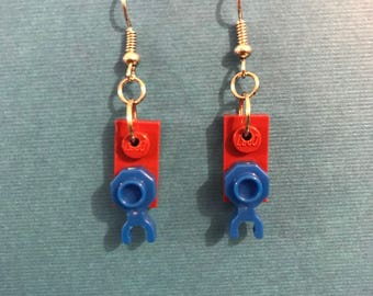 Burgundy & Blue LEGO Dangly Earrings