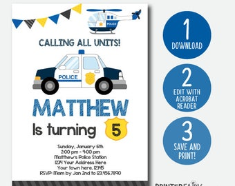 EDIT YOURSELF Police Birthday Invitation, Police Invitation, Police Birthday Party, DIGITAL Editable Invite