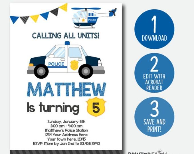 EDIT YOURSELF Police Birthday Invitation, Police Invitation, Police Birthday Party, DIGITAL Editable Invite