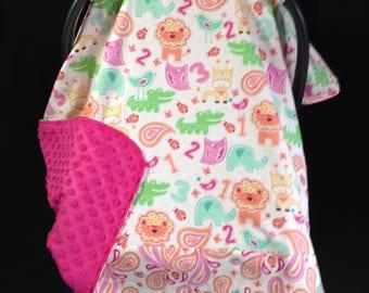 Car Seat Canopy/ Car Seat Cover/ Jungle Animals/ Pink/ Orange/ Aqua/ Lime Green