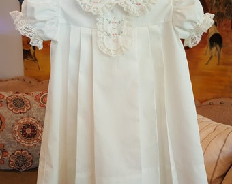 Pleated Dress with Peter Pan Collar and Tab