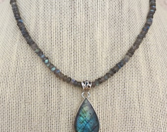 Genuine . Gemstone . Labradorite . Pendant . Necklace
