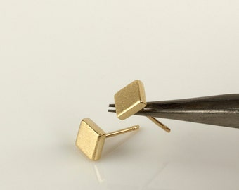 14k gold stud earrings, square earrings, solid gold post earrings, square stud earrings, minimal stud earrings