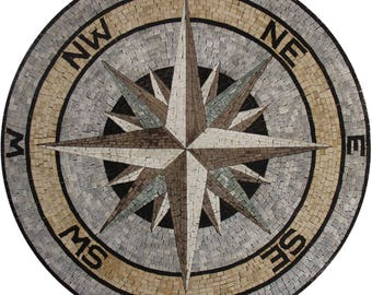 """Compass Nautical Round 36"""" Medallion New With Tags Stone Marble Mosaic MD2008"""