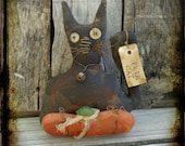 Primitive Folk Art, Black Cat Pumpkin Halloween Home Decor, Fall Autumn Harvest, OFG FAAP