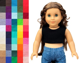 Fits like American Girl Doll Clothes - Cropped Tank Top, You Choose Color | 18 Inch Doll Clothes