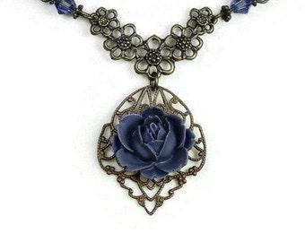 Victorian Style Necklace, Romantic Vintage Style Art Nouveau Tanzanite Vintaj Brass Pendant Necklace, Purple, Swarovski, Mother's Day Gifts