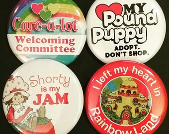 "1.5"" Buttons OR Magnets-80s Girl Cartoons, Set of 4"