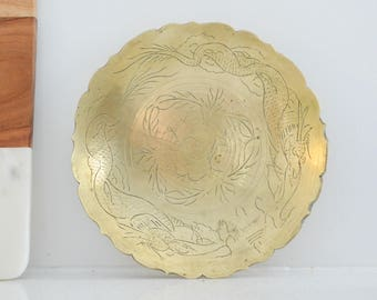 Vintage Solid Brass  Catchall Bowl- Jewelry Bowl- Made in India- Bohemian Decor- Boho Entryway Decor- Bathroom Decor- Brass Accents- Patina