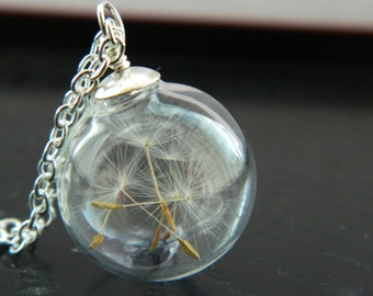 Real Dandelion Seeds Necklace. Make A Wish. Blown Glass Bead. Orb.  Transparent Round.