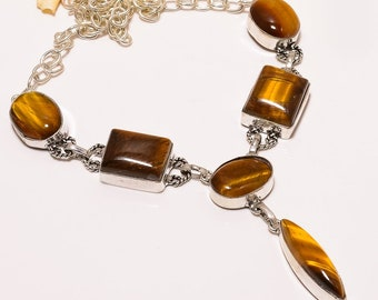 Tigers Eye Gemstone Silver Plated Chain Necklace