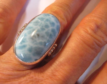 Larimar Ring ... Sterling Silver and Gold Fill ... size 7 1/2      ...........   A969