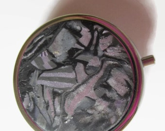 Pill Box, Pill Case, Trinket Box, Lavender, Purple, Plum with Silvery Accents