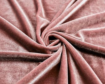 Princess DUSTY ROSE Polyester Stretch Velvet Fabric by the Yard, Half Yard, Sample - 10001