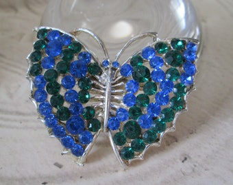 """Large Vintage BUTTERFLY pin/brooch*Blue and Green Sparkle*2-1/4"""" across"""
