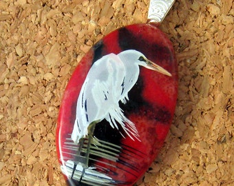 Fused HeronPendant - Fused Glass Pendant - Decal Pendant - Fused Glass Jewelry  - Glass Pendant - Fused Glass Necklace - Heron Jewelry
