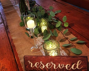 Reserved sign for wedding decorating