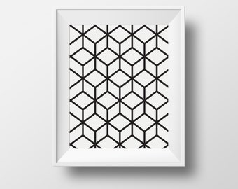 Printable wall art deco, black and white abstract, Instant Download, A6, A5, A4, A3, 4x6, 5x7, 8x10, 11x14, 18x24