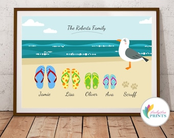 Personalised Family Name Print, Family Print, Personalised Print, Family Beach, Family Holiday, Personalised Flip Flops Print, Shoes Print