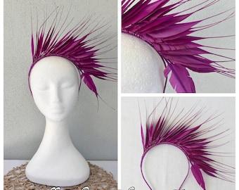 Ladies magenta purple feather headband fascinator