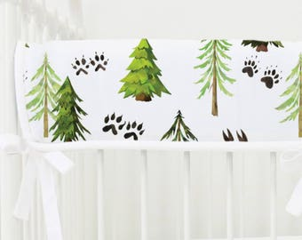 Woodland Trees Crib Rail Cover for Bumperless Bedding | Woodland, Trees, Green, White, Gender Neutral, Baby Boy Teething Guard