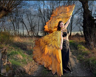 Gold bird wings. Unique hand painted silk feathers belly dance wings made to order.