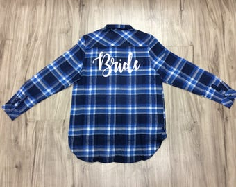 Bridal Flannels Personalize Flannels Buffalo Plaid Women's Flannels Womens Bridal Party Flannels Wedding Day Flannels Bride