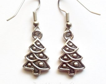 Christmas Tree Earrings - Christmas Tree Jewelry - Christmas Earrings - Christmas Jewelry - Holiday Jewelry - Holiday Earrings