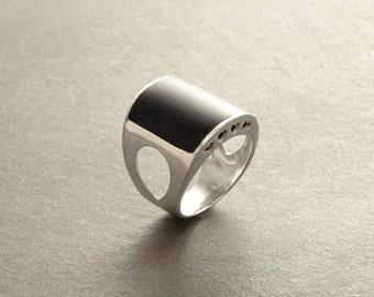 Hipster Ring Black Onyx Ring Silver 925 Modern Men Ring