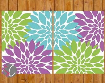 Lime grün lila Aqua Blumen Wand Kunst Blumen Dekor Bad Mädchen Schlafzimmer Baby Kinderzimmer 8 x 10 JPG Dateien druckbare (216)