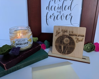 Wood Card- I love you to the Death Star and Back {Star Wars,death star,Valentines Day,Greeting card,Laser Engraved on Solid Wood,Free Stand}