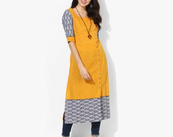 Wooden Button Side Placket Ikat Kurta