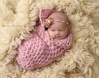Blossom Pink Newborn Baby Collared Cocoon Photography Prop