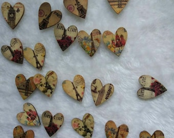 "30 PC Painted wood buttons 30mm - Wooden Buttons ,tree buttons, natural wood buttons ""heart"" A017"