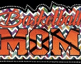 """BASKETBALL MOM  9.75""""(W) x 5.5""""(L)  inch mixed media applique iron on transfer"""