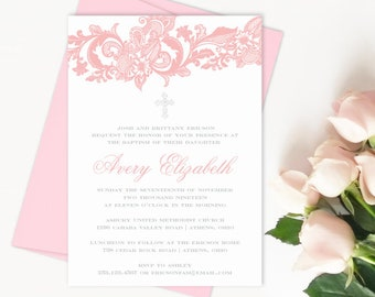 Baptism Invitation Girl, Baptism Invitations, Christening Invitation, Baby Girl Baptism Invitation, Baptism Announcement, Lace Invitations