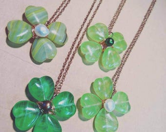 "Green Four Leaf Clover Copper Wire Necklace on 16"" chain Lucky Irish Clover Necklace March Birthday or St Patricks Day Gift Idea"
