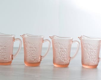 Vintage Pink Glass Grape Textured Pitchers