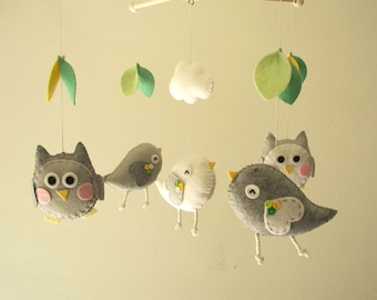 "Baby crib mobile, Bird mobile, felt mobile, nursery mobile, baby mobile, owl mobile ""Bird and Owl - grey"""