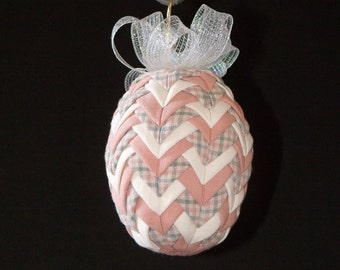 """Quilted Easter Egg Ornament in Shades of Peach and White - 5"""" - Home Decor - Easter Decor - Christmas Ornament - Egg ornament - Quilted Egg"""