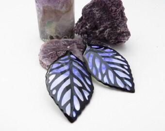 Purple Iridescent & Transparant Leaf Earrings