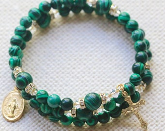 Malachite Catholic Wrap Rosary Bracelet in Gold