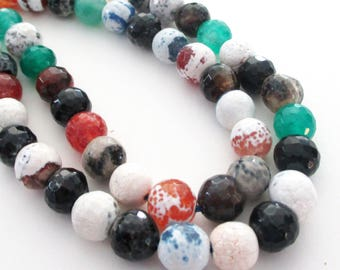 "Agate Round Beads - Mix Color Stone Beads - Faceted Gemstone - Black White Green Brown - 8mm - 16"" Strand - Diy Summer Necklace Beads"