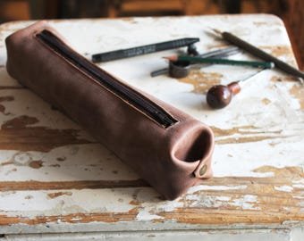 Leather bag for her, leather travel bag, leather pencil bag, leather pouch, cosmetic bag, brown leather bag, brown leather pouch, small bag